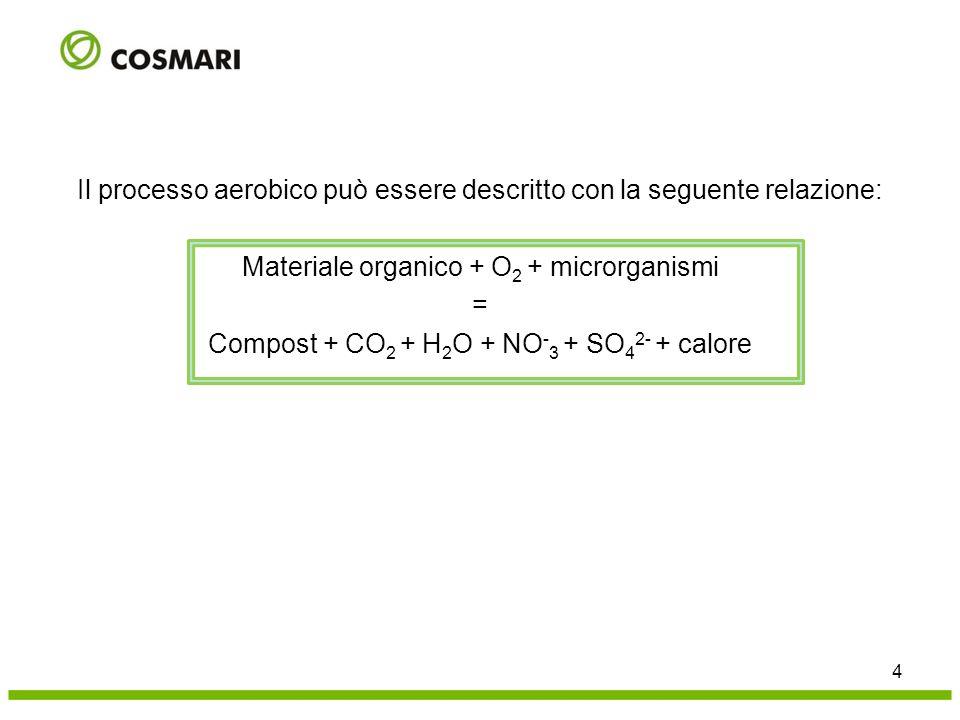 Il processo aerobico può essere descritto con la seguente relazione: Materiale organico + O2 + microrganismi = Compost + CO2 + H2O + NO-3 + SO42- + calore