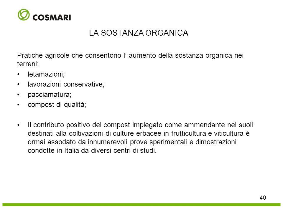 LA SOSTANZA ORGANICA Pratiche agricole che consentono l' aumento della sostanza organica nei terreni: