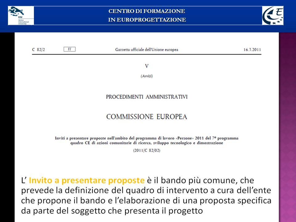 CENTRO DI FORMAZIONE IN EUROPROGETTAZIONE