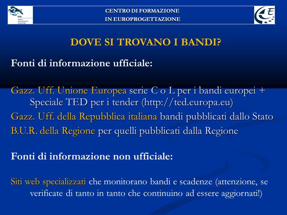 Fonti di informazione ufficiale: