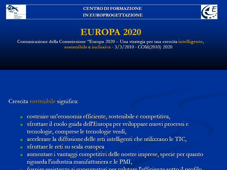 EUROPA 2020 Crescita sostenibile significa:
