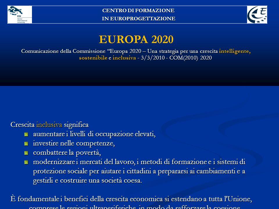 EUROPA 2020 Crescita inclusiva significa