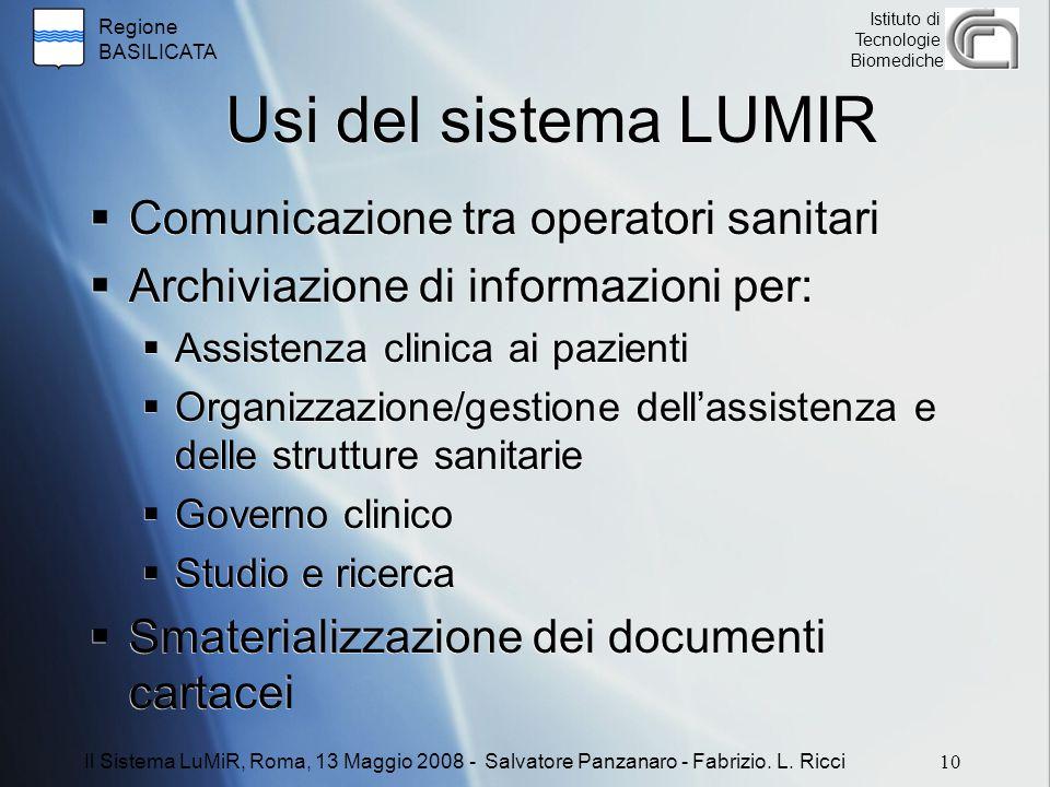 Usi del sistema LUMIR Comunicazione tra operatori sanitari