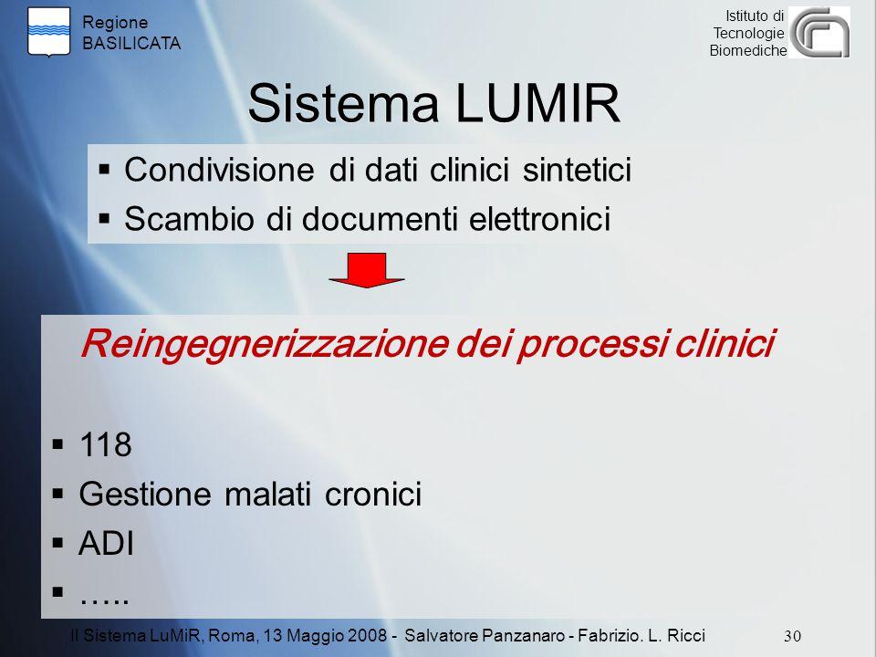 Sistema LUMIR Reingegnerizzazione dei processi clinici