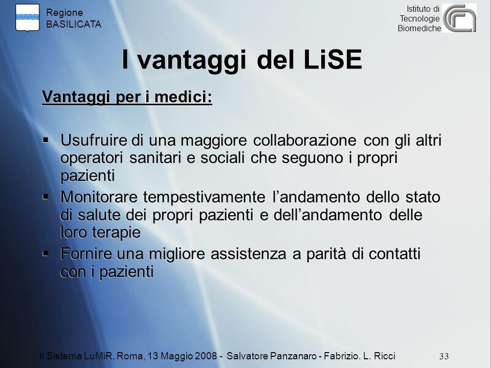 I vantaggi del LiSE Vantaggi per i medici: