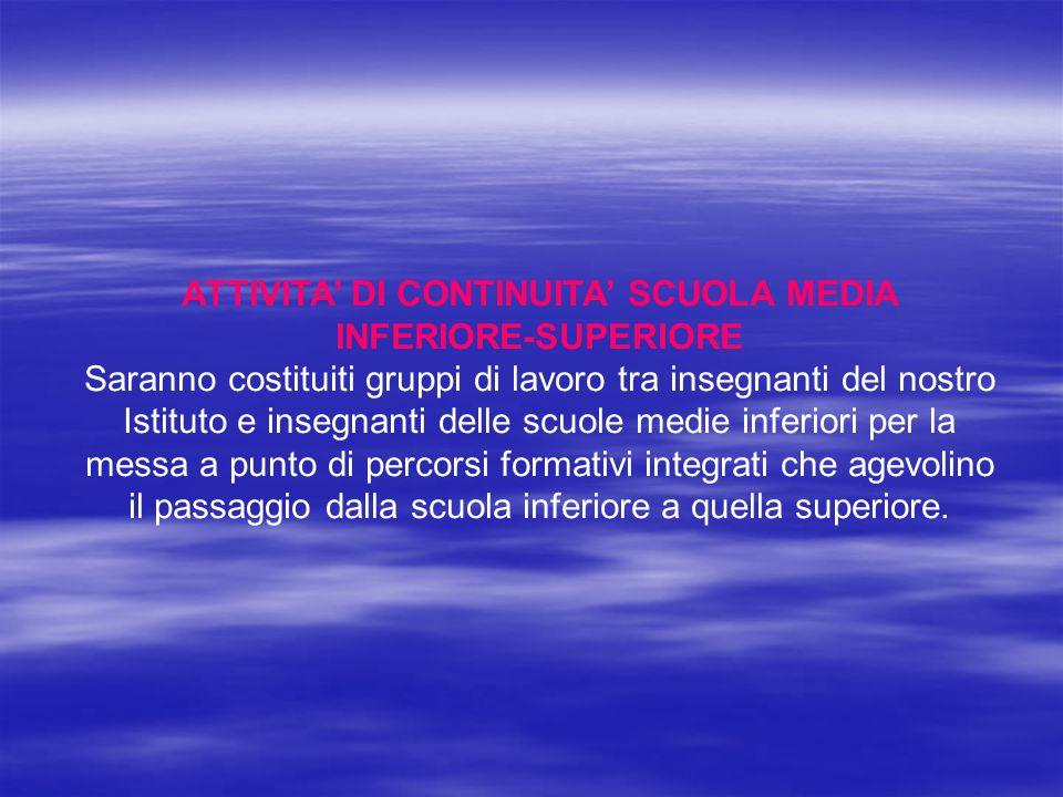 ATTIVITA' DI CONTINUITA' SCUOLA MEDIA INFERIORE-SUPERIORE