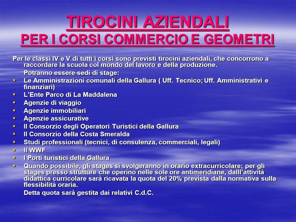 TIROCINI AZIENDALI PER I CORSI COMMERCIO E GEOMETRI
