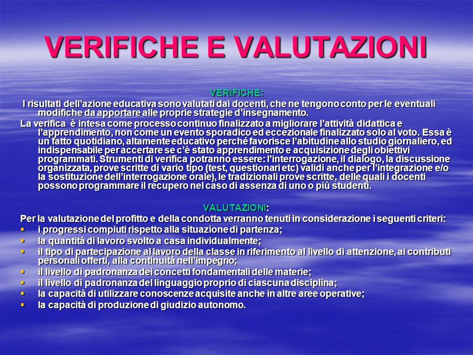 VERIFICHE E VALUTAZIONI
