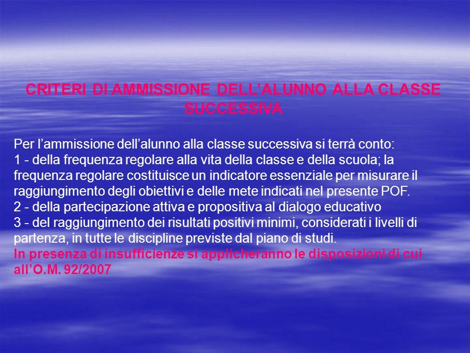 CRITERI DI AMMISSIONE DELL'ALUNNO ALLA CLASSE SUCCESSIVA