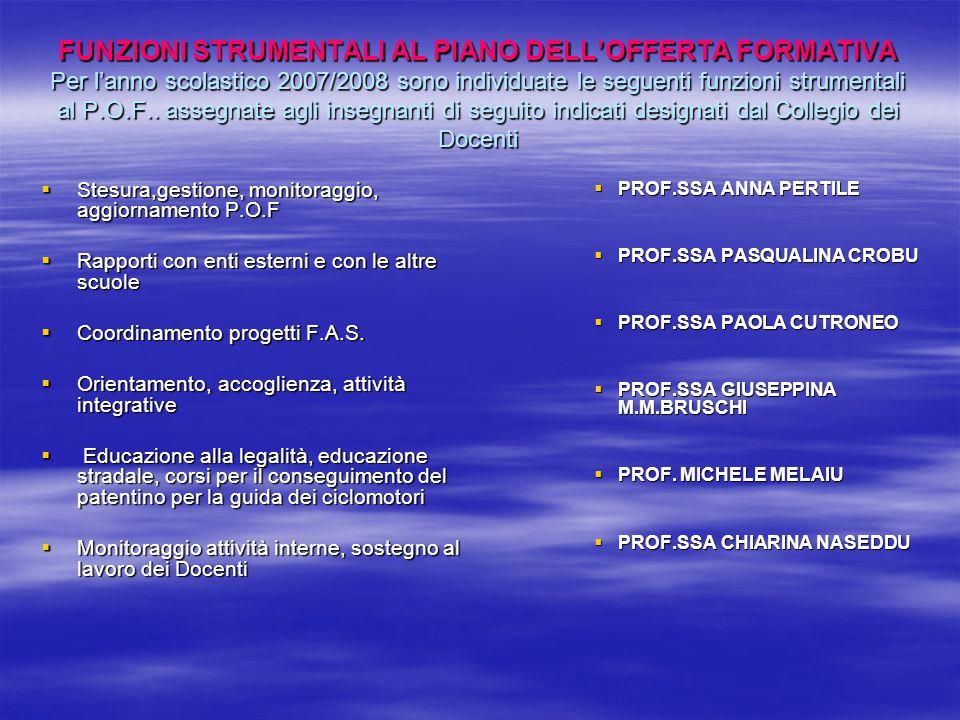 FUNZIONI STRUMENTALI AL PIANO DELL'OFFERTA FORMATIVA Per l'anno scolastico 2007/2008 sono individuate le seguenti funzioni strumentali al P.O.F.. assegnate agli insegnanti di seguito indicati designati dal Collegio dei Docenti