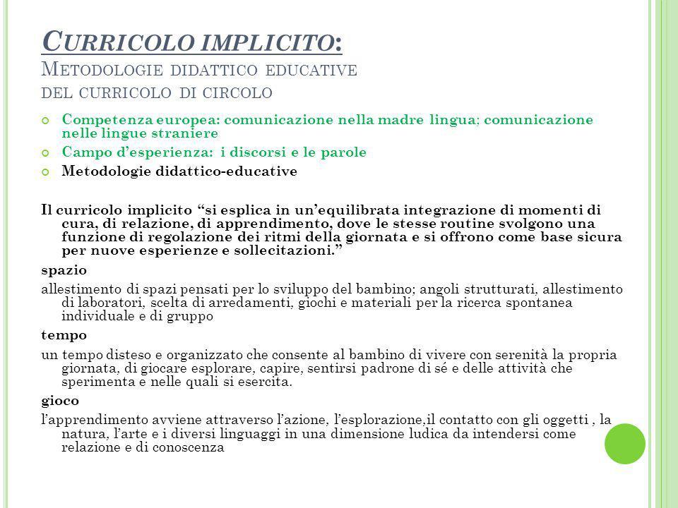Curricolo implicito: Metodologie didattico educative del curricolo di circolo