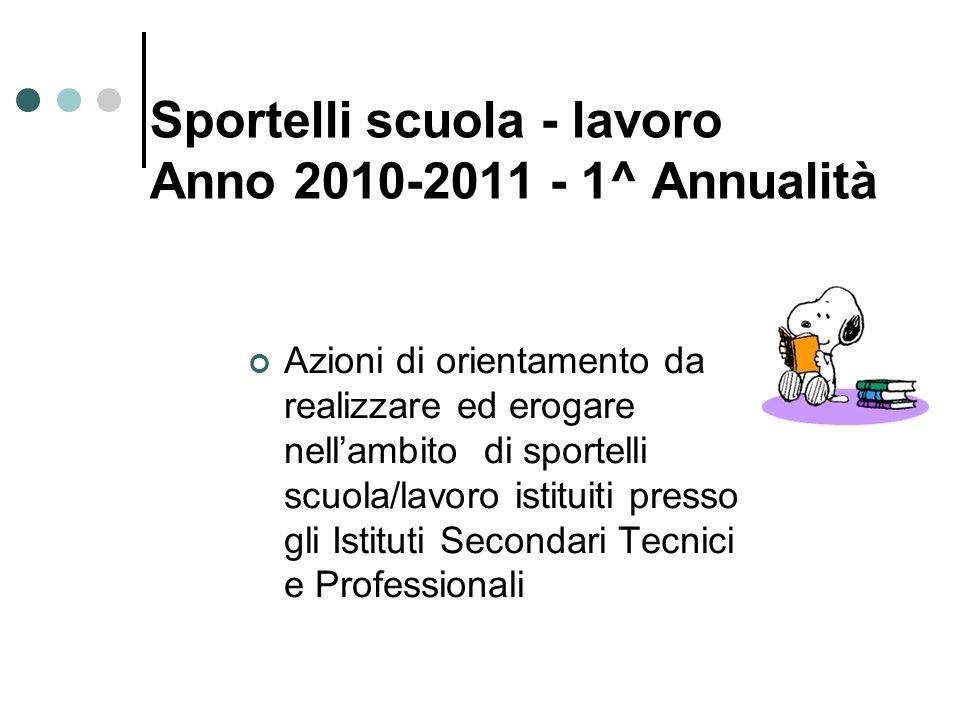 Sportelli scuola - lavoro Anno 2010-2011 - 1^ Annualità