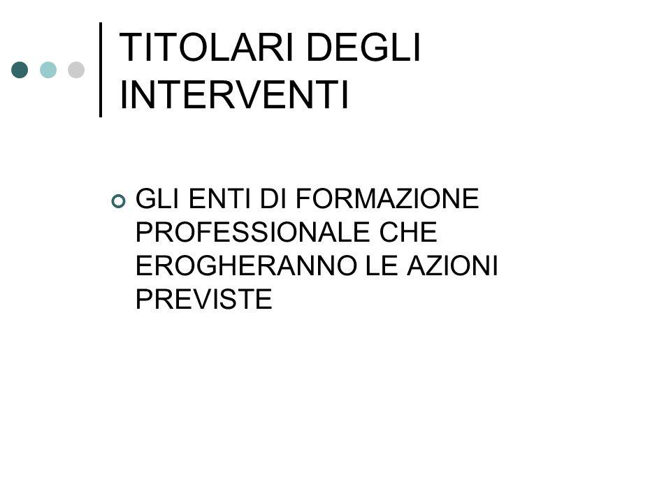 TITOLARI DEGLI INTERVENTI