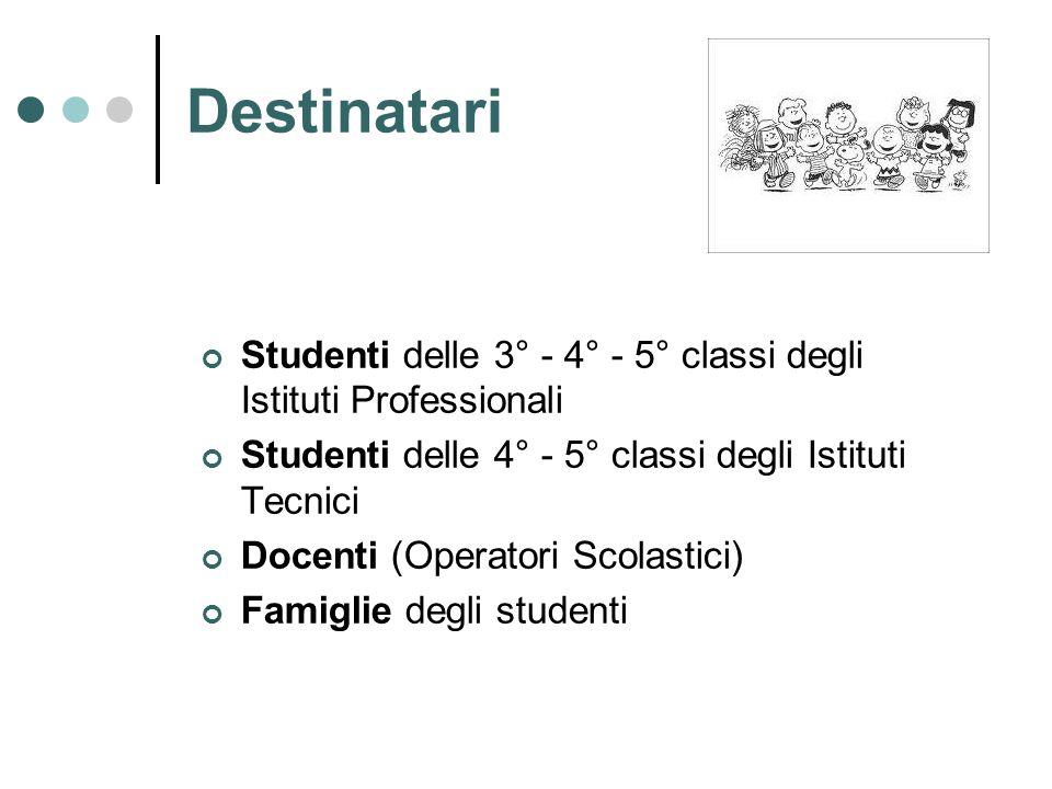 Destinatari Studenti delle 3° - 4° - 5° classi degli Istituti Professionali. Studenti delle 4° - 5° classi degli Istituti Tecnici.
