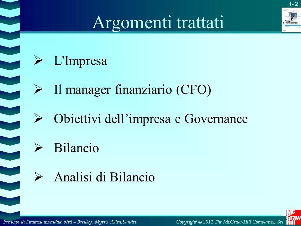 Argomenti trattati L Impresa Il manager finanziario (CFO)