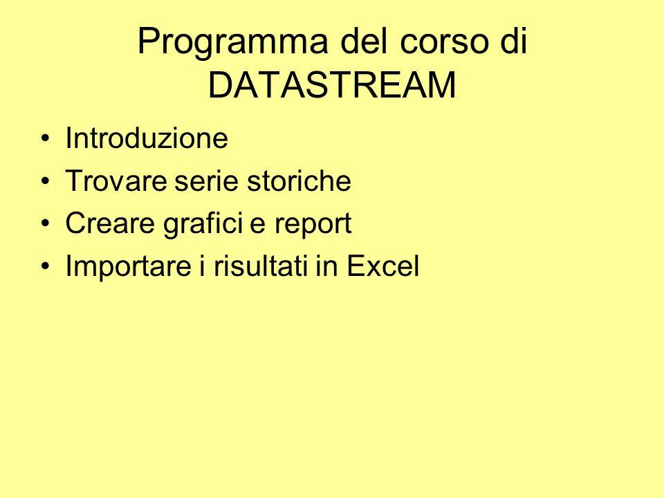 Programma del corso di DATASTREAM