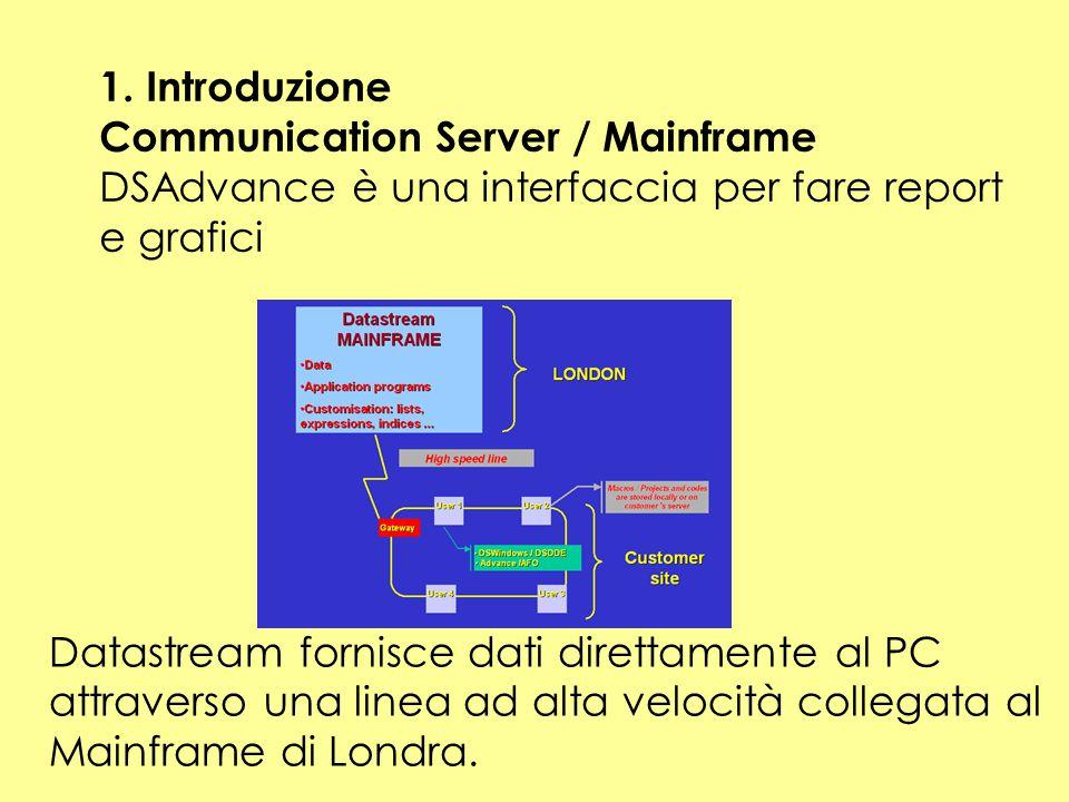 1. Introduzione Communication Server / Mainframe. DSAdvance è una interfaccia per fare report. e grafici.