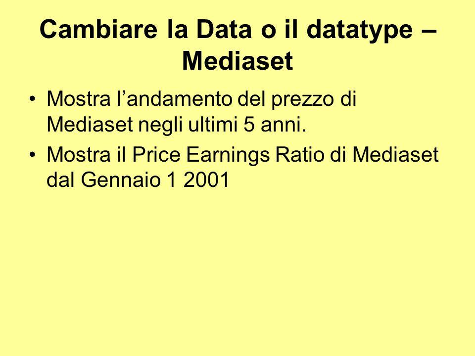 Cambiare la Data o il datatype – Mediaset