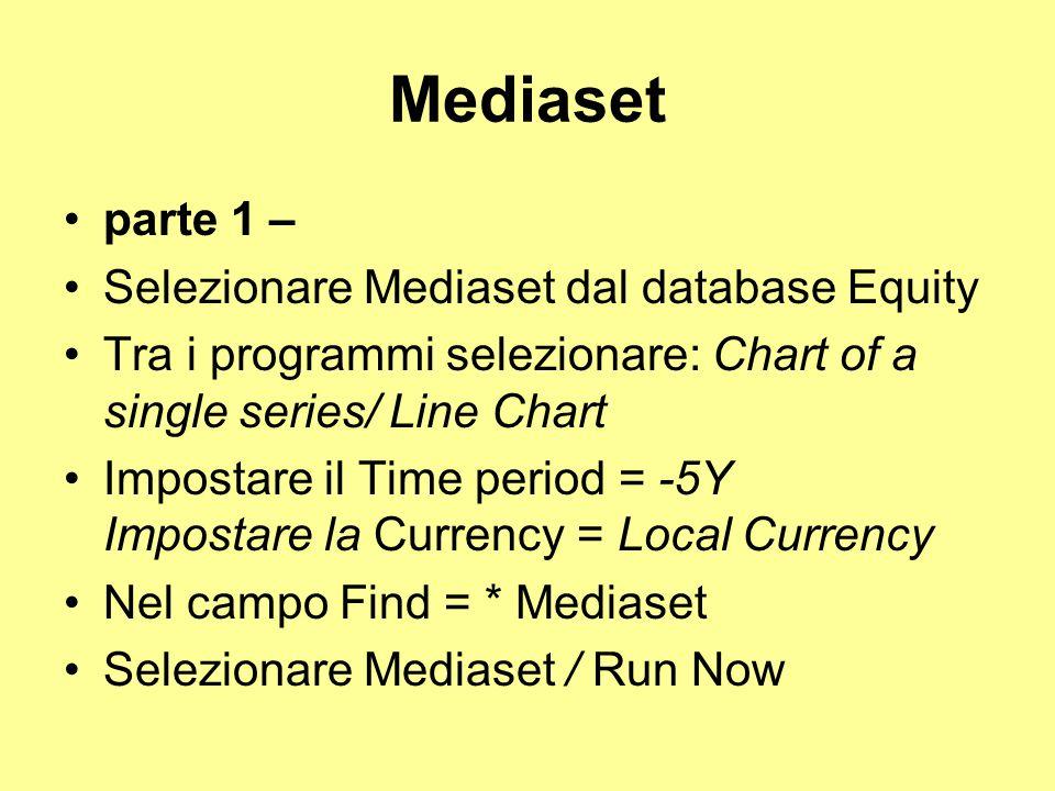 Mediaset parte 1 – Selezionare Mediaset dal database Equity