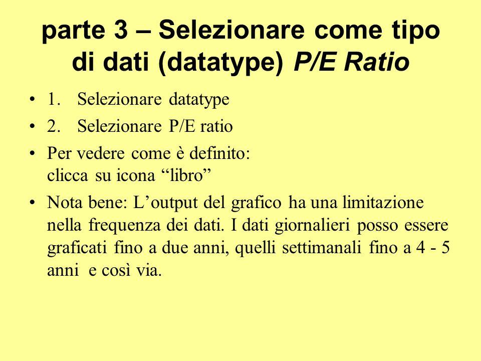 parte 3 – Selezionare come tipo di dati (datatype) P/E Ratio
