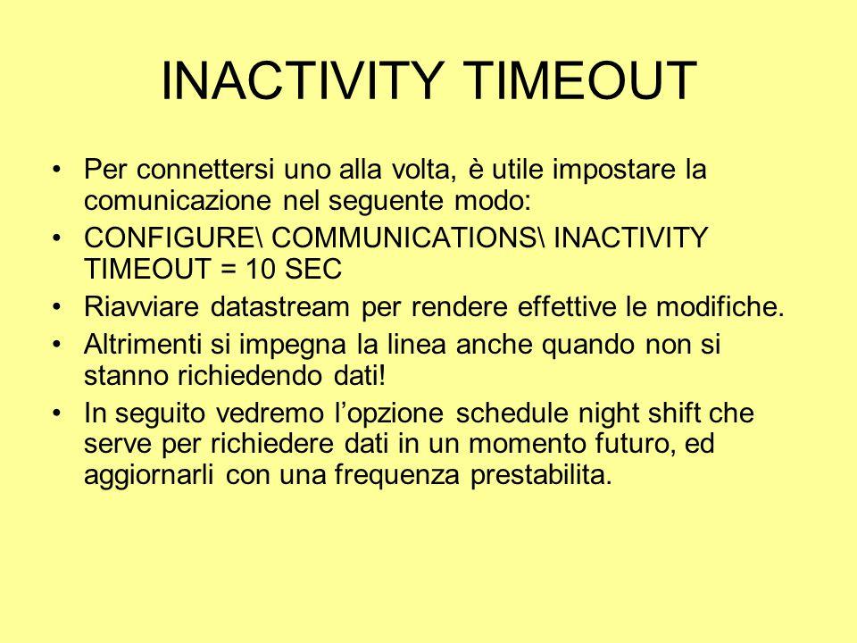 INACTIVITY TIMEOUT Per connettersi uno alla volta, è utile impostare la comunicazione nel seguente modo: