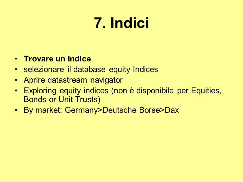 7. Indici Trovare un Indice selezionare il database equity Indices
