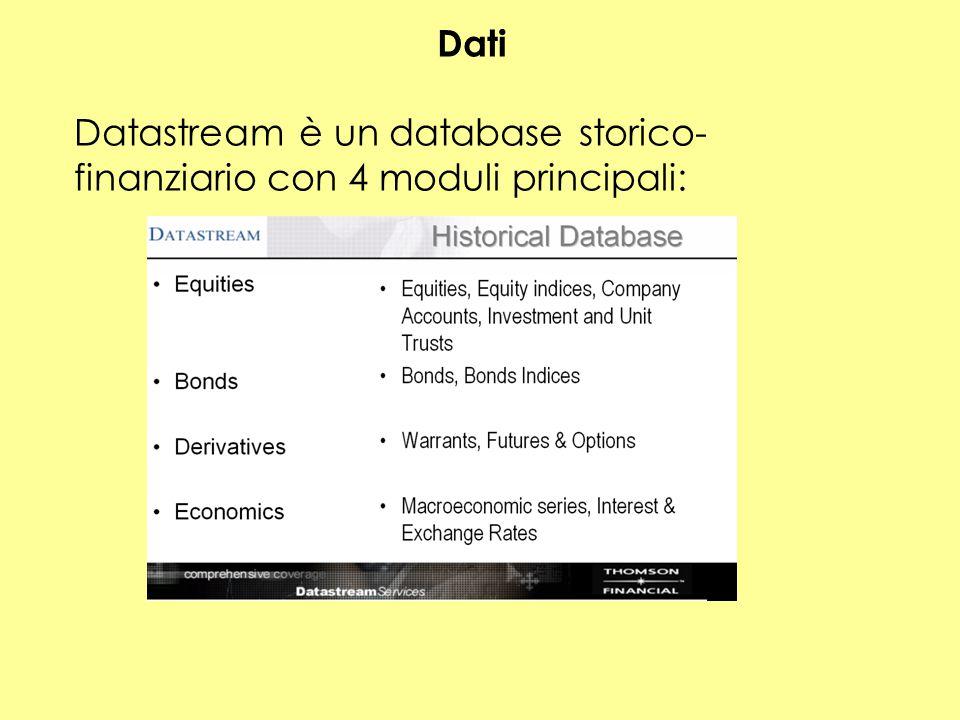 Dati Datastream è un database storico-finanziario con 4 moduli principali:
