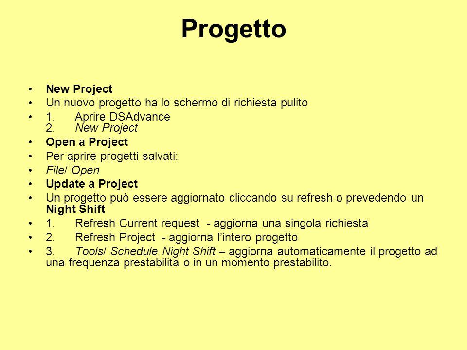 Progetto New Project. Un nuovo progetto ha lo schermo di richiesta pulito. 1. Aprire DSAdvance 2. New Project.