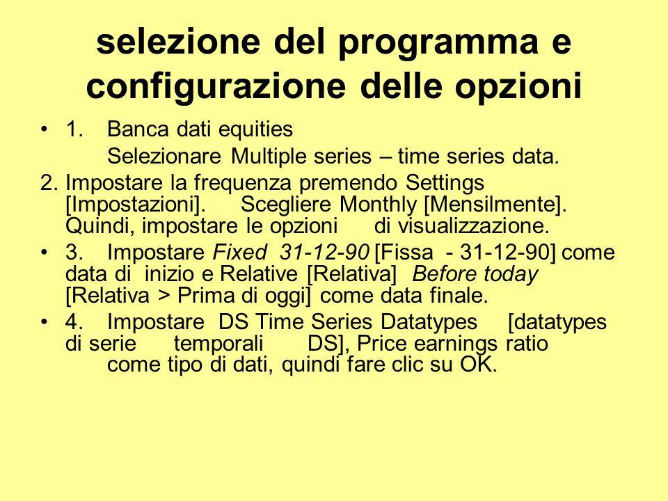 selezione del programma e configurazione delle opzioni