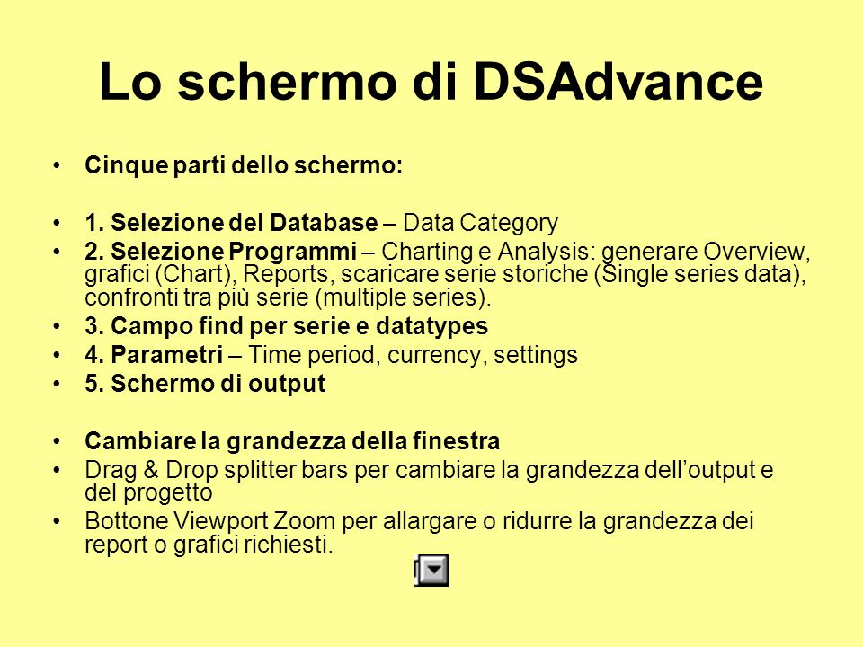Lo schermo di DSAdvance