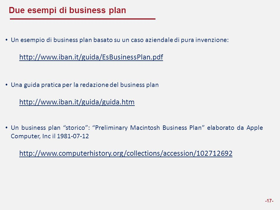 Due esempi di business plan