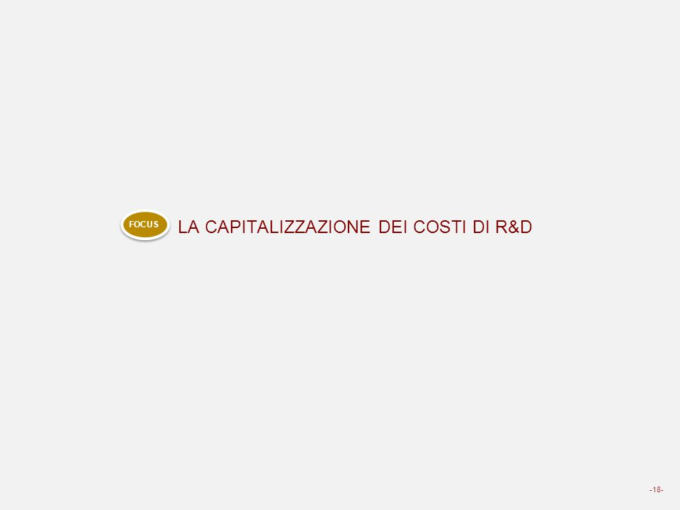 LA CAPITALIZZAZIONE DEI COSTI DI R&D