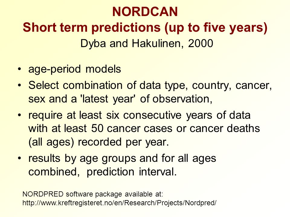 NORDCAN Short term predictions (up to five years) Dyba and Hakulinen, 2000