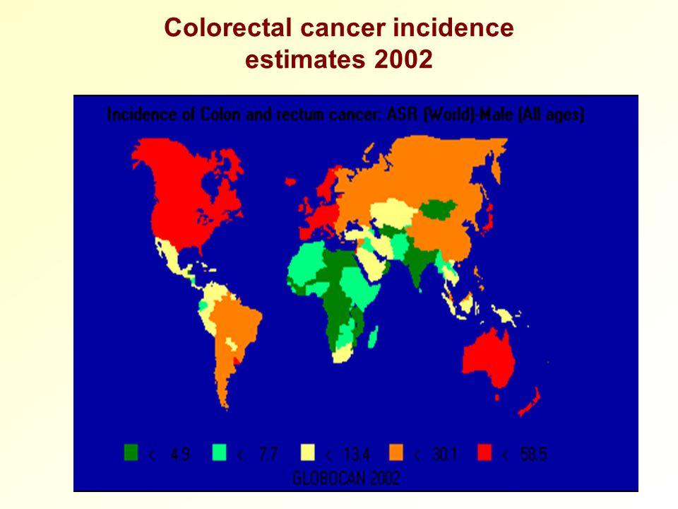 Colorectal cancer incidence estimates 2002