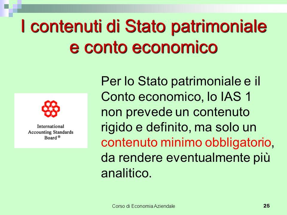 I contenuti di Stato patrimoniale e conto economico