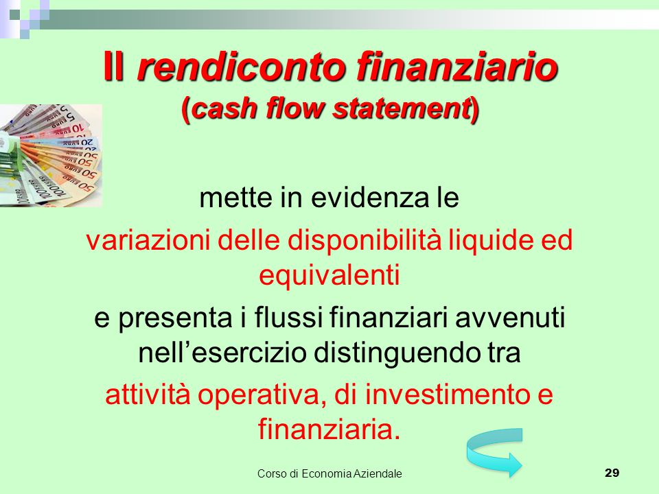 Il rendiconto finanziario (cash flow statement)
