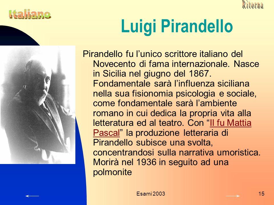 Ritorna Luigi Pirandello. Italiano.
