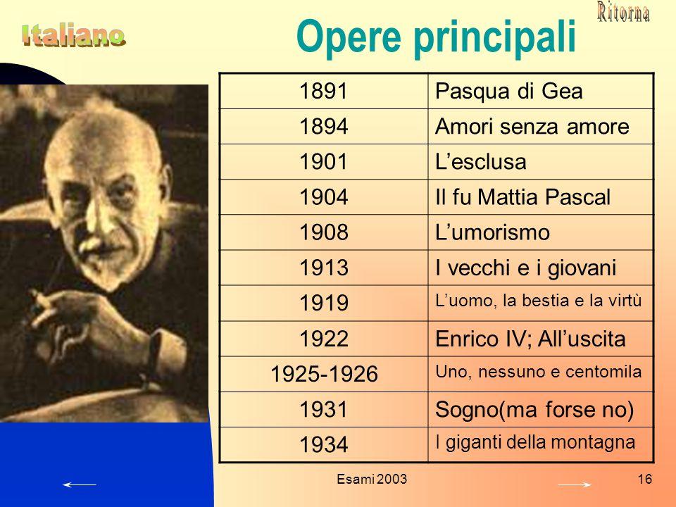 Opere principali 1891 Pasqua di Gea 1894 Amori senza amore 1901
