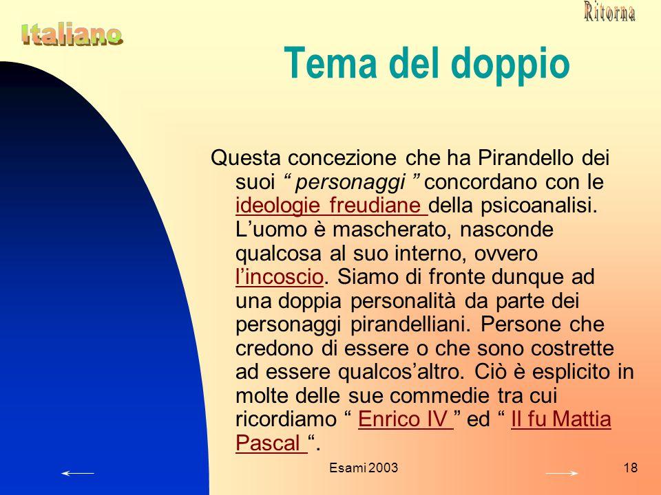 Ritorna Tema del doppio. Italiano.