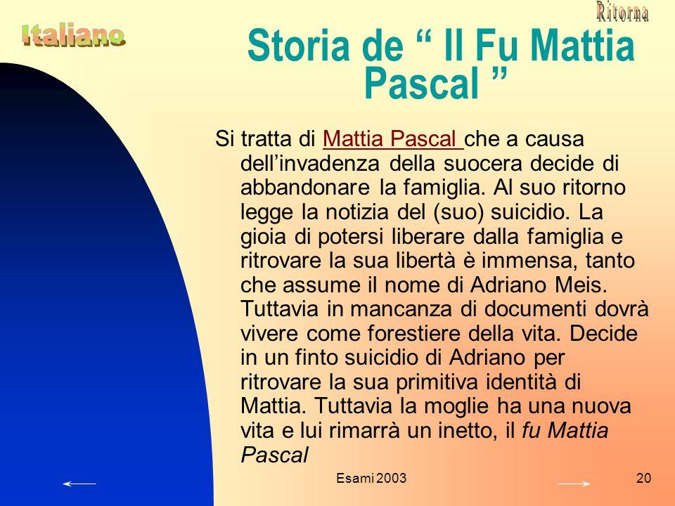 Storia de Il Fu Mattia Pascal