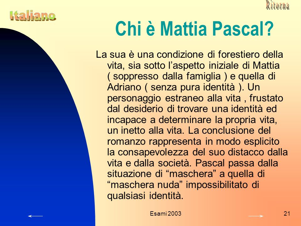 Ritorna Chi è Mattia Pascal Italiano.