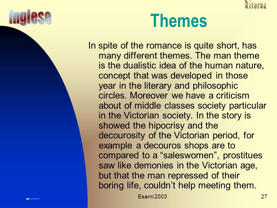 Ritorna Themes. Inglese.