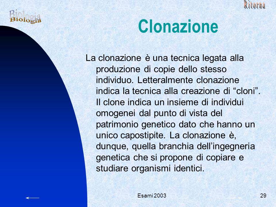 Ritorna Clonazione. Biologia.