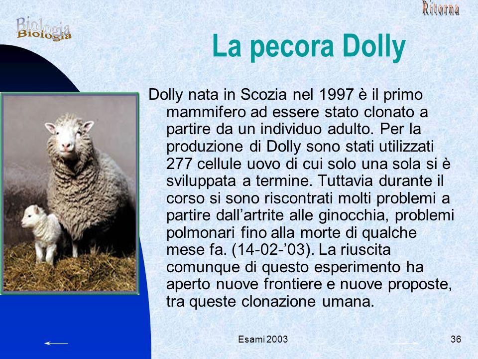 La pecora Dolly Biologia