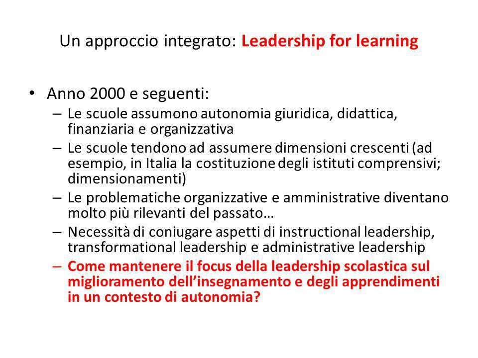 Un approccio integrato: Leadership for learning