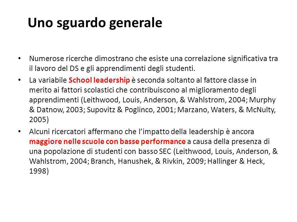 Uno sguardo generale Numerose ricerche dimostrano che esiste una correlazione significativa tra il lavoro del DS e gli apprendimenti degli studenti.