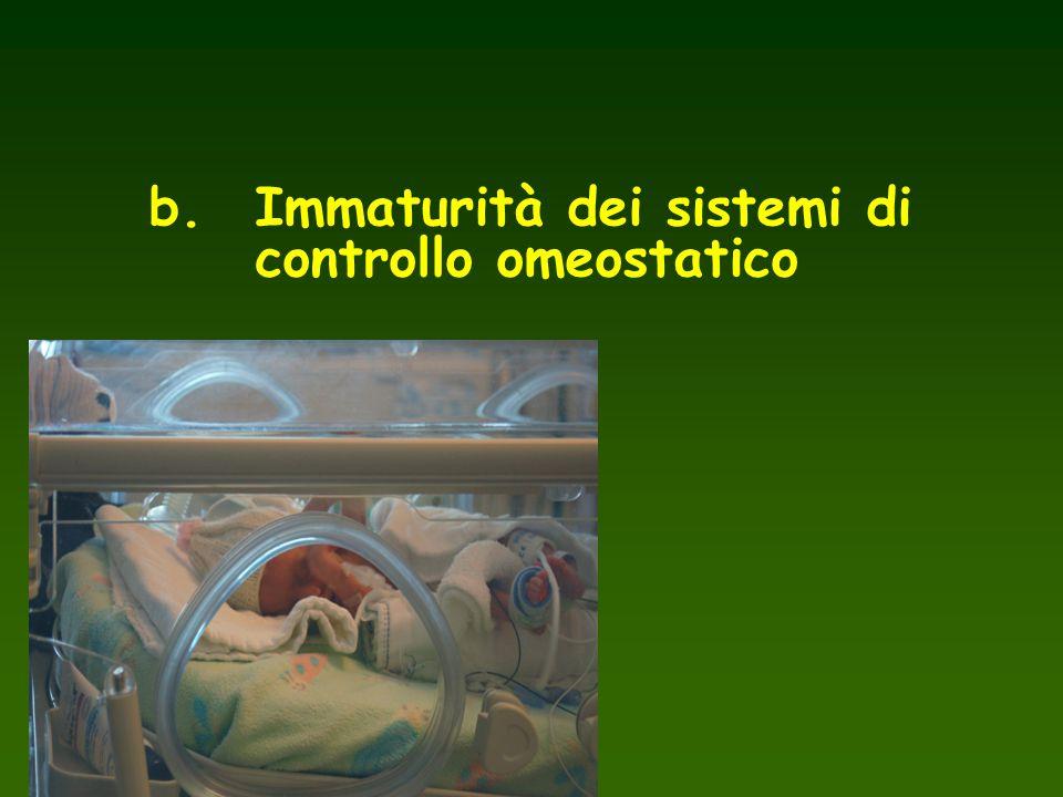 b. Immaturità dei sistemi di controllo omeostatico