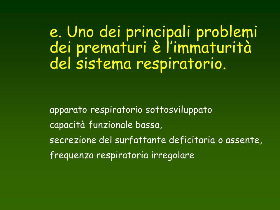 e. Uno dei principali problemi dei prematuri è l'immaturità del sistema respiratorio.