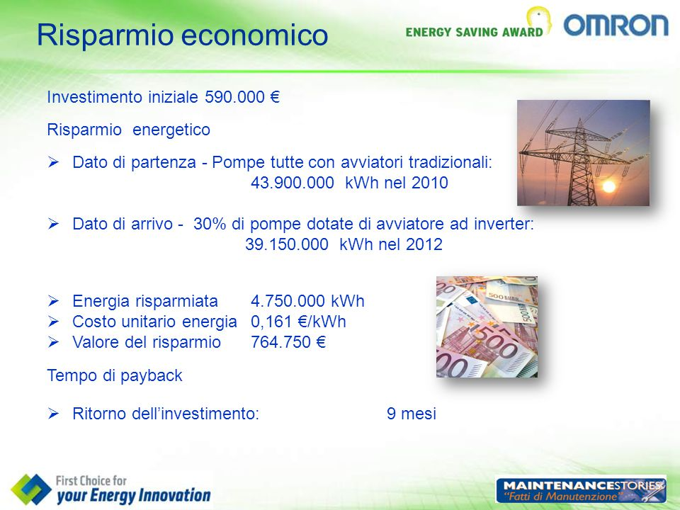 Risparmio economico Investimento iniziale 590.000 €