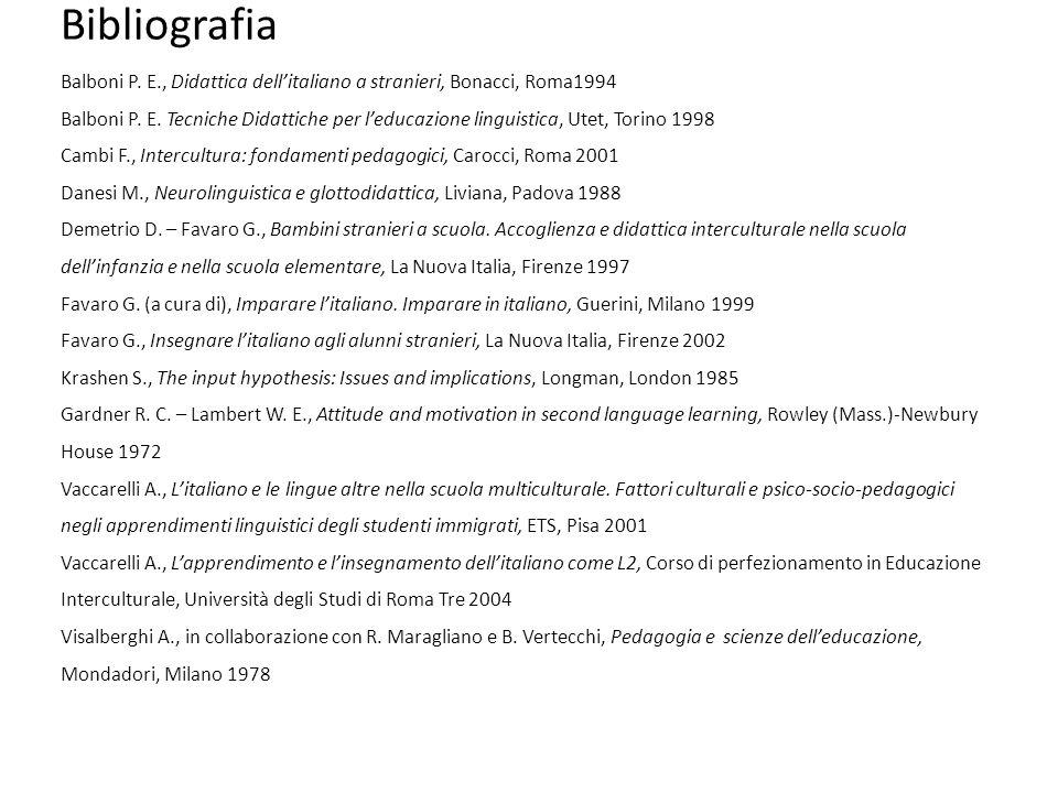 Bibliografia Balboni P. E